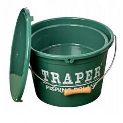 Wiadro z miską i pokrywką 13l TRAPER Zielone 53024