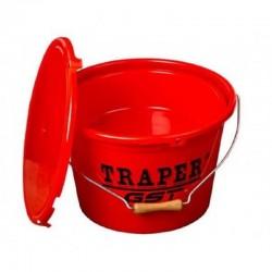 Wiadro z miską i pokrywką 13l TRAPER Czerwone 53025